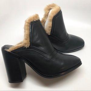 Sol Sana • Fever Mule Faux Fur Black Leather 6 New